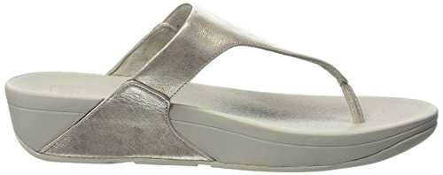 Fitflop Skinny Toe-Thong Sandals-Leather, Sandali Punta Aperta Donna Silver (Silver)