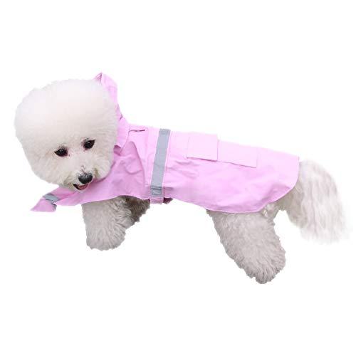 QiCheng&LYS Pet Regenmäntel, Dog Regenmäntel, Verstellbare wasserdichte Reflektierende Regen Jacke Poncho, Trendige Freizeit Jacke Hoodie Jumpsuit Hunde Katzen (XS, Rosa) -