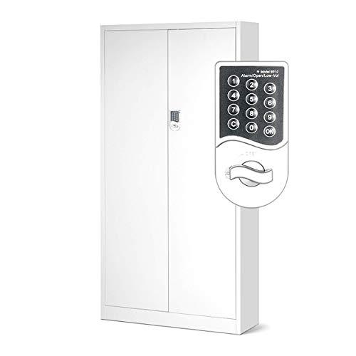 Jan nowak by domator24 c003 - armadio in metallo con serratura a combinazione, ante in lamiera di acciaio, 4 ripiani, 185 x 90 x 40 cm, colore: bianco