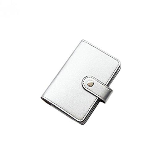 sunnymi Fashion Top Leder Große Kapazität ★ Kartentasche ★Candy Color Bank Kreditkarten/24 Seiten 2 Führerschein (Silber) (Große Drawstring Handtasche)