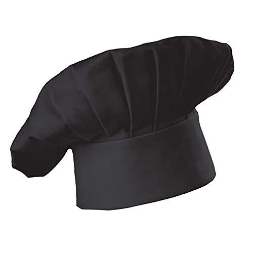 Cappello da Chef Maschile e Femminile Cappello da lavoro per Hotel Restaurant Cafe Cucina del ristorante occidentale,adulto - Nero