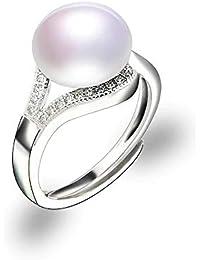 5fdd8d24c065 24 JOYAS Anillo Ajustable de Plata con Perla de 8 milímetros y Brillantes