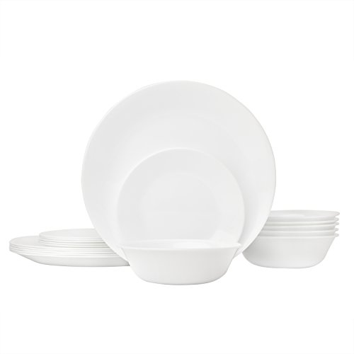 Corelle Geschirrset Winter Frost White 18-Piece weiß Black Bread Butter Plate