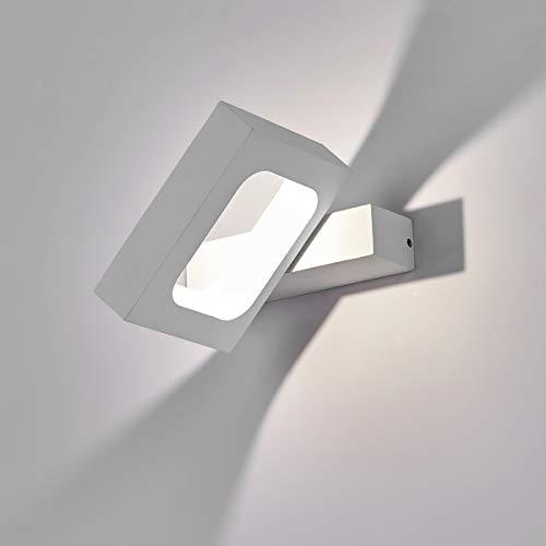 Haofu 10w led lampada da parete,led applique da parete interni decorazione per sala soggiorno corridoio,4000k bianco naturale,145 * 130 * 30mm (bianco+bianco naturale)