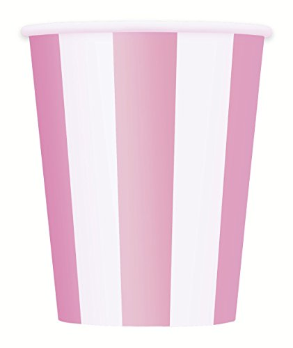 Unique Party - 37996 - Paque de 6 Gobelets - Carton - Motif Rayé - 355 ml - Rose Pastel