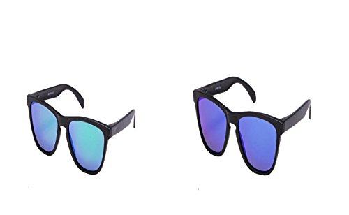 2 er Set Sonnenbrille EL-Sunprotect® Polarisierte Linsen Retro Vintage Style Nerd Look Stil Unisex Brille - Schwarz Blau Spiegel - Grün Schwarz Verspiegelt
