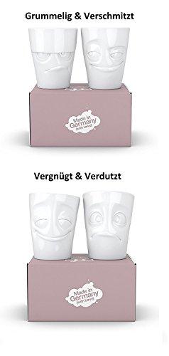 Fiftyeight 4er Becher Set GRUMMELIG & VERSCHMITZT & VERGNÜGT & VERDUTZT je ca. 350ml / weiß