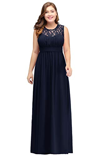 Damen Elegant A-Linie Brautjungfernkleid Chiffon Kleid große größen lang Navy Blau 54