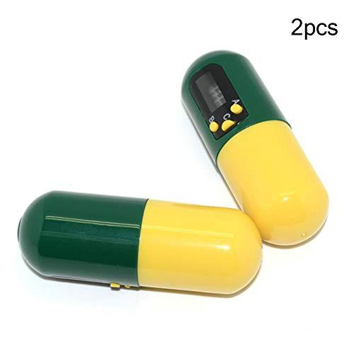 BTSSA Klein Mini Pillendose, Pillenerinnerung, Medikamenten-Uhr/Wecker mit 4 Alarmen pro Tag, essentiell für Parkinson-Patienten