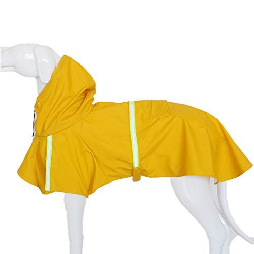 GWELL Hund Regenjacke Wasserdichte Hundejacke Reflektierende Regenmantel Funktionsjacke für Großen Hund Gelb XL