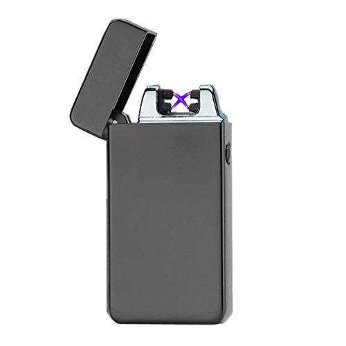USB Feuerzeug emsmil Mini elektrische wiederaufladbar Arc 2 Beam Zigarettenanzünder winddicht flammenlose Touch Schalter USB-Kabel enthalten Herren Geschenk, schwarz