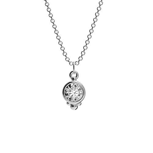 Damen Halskette aus 925 Sterlingsilber/Vergoldet (18 Karat) mit rundem Anhänger mit Zirkonia Stein (Silber)