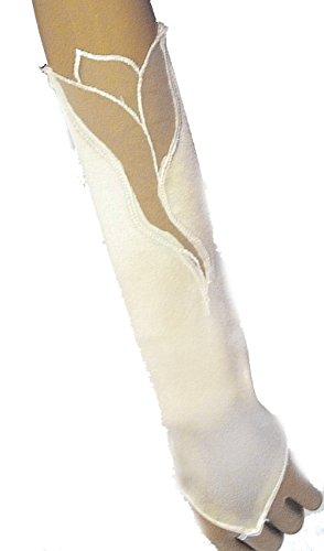 LadyMYP© Brauthandschuhe, Handschuhe für Hochzeit oder Feier, 28cm, ivory/weiß/schwarz (Ivory (hellcreme))