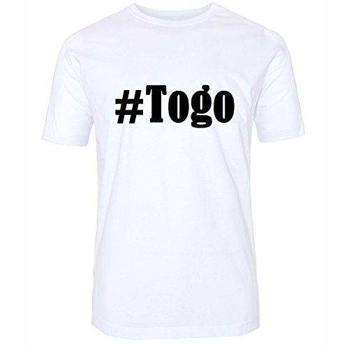 T-Shirt #Togo Hashtag Raute für Damen Herren und Kinder ... in den Farben Schwarz und Weiss Weiß