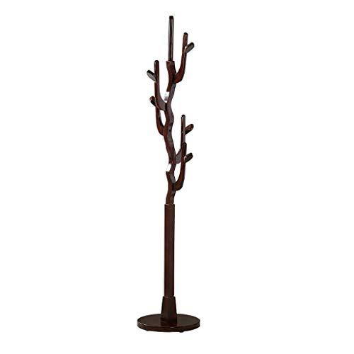 Golden_flower Lagerregal Schwarz Massivholz Nussbaumholz Hall Tree Coat Hutablage Stand - Tree Coat