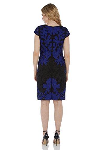 Roman Originals Damen Kleid - Elegantes Etuikleid Mit Spitze Hochzeitsgast Brautmutter Brautjungfer - Schwarz Blau Große 38 Bis 48 Blau
