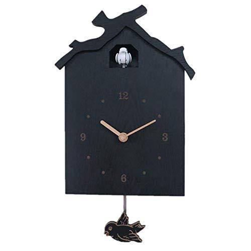 TOOWE Birdhouse Orologio a cucù Nero e Moderno. Voci di Uccello Naturali o Chiamata a cucù, Orologio di Design w
