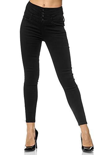 Elara Damen Stretch Hose | High Waist Jeans| Skinny | hoher Bund | Slim Fit | Chunkyrayan EGBK2083 Black 44
