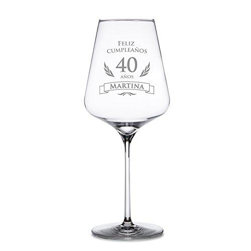 AMAVEL Copa de Vino Tinto para el 40 Cumpleaños Personalizada Feliz Cumpleaños Copa de Cristal Capacidad 644 ml