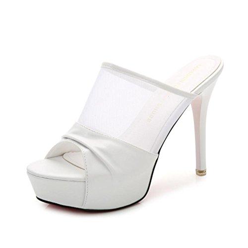 Heart&M delle donne PU Mesh Estate Materiale superiore 12CM tacchi alti suola in gomma Peep-toe Sandal Slippers Bianca