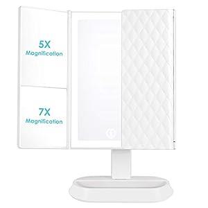 Auxmir Kosmetikspiegel mit LED Licht und 5X/ 7X-Vergrößerungsspiegel, Schminkspiegel Beleuchtet für Schminken Rasieren und Tragen der Kontaktlinsen, 3 Lichtfarben und Dimmbare Heilligkeit, Weiß