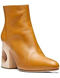 Damen Kurze Stiefel Neue Mode Spitze Zehe Mid Rough Geformte Ferse Echtes Leder Schwarz rot Herbst Winter , Yellow , EUR 40/ UK 7