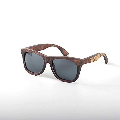 LHZHG Fahrbrillen, Herren-und Damenhölzerne Sonnenbrillen Sportbrillen Retro-Stil Bambus und Holz-Sonnenbrillen Harzlinsen UV400 (Color : Gray)