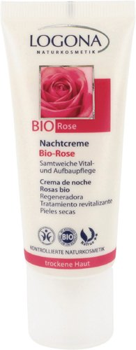 Logona - Crème de nuit à la rose pour peaux sèches - 50 ml tubes - Stimule les fonctions réparatrice