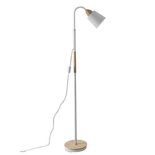SYAODU Nordischen Stil Stehlampe, Holz & Metall Basis, Wohnzimmer Schlafzimmer Studie Auge Leselicht, E27 360 ° verstellbaren Lampenkopf Design -