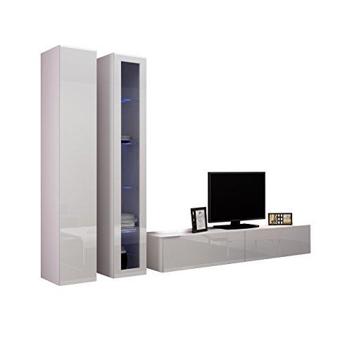Wohnwand VIGO III Anbauwand Modernes Wohnzimmer set, Mediawand, Glasvitrine, Hängeschrank TV-Schrank (mit weißer LED Beleuchtung, Weiß / Weiß Hochglanz)