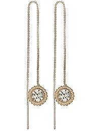 de8c479db039 QIANZHIHEA Pendientes Pendientes De Hilo para Mujer Pendientes Largos De Oro  Pendientes De Cristal Exquisitos Accesorios