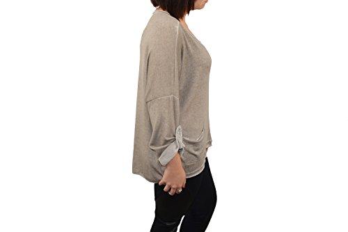 Sweat Beige Femme Ultra léger Confortable Look Décontracté Beige