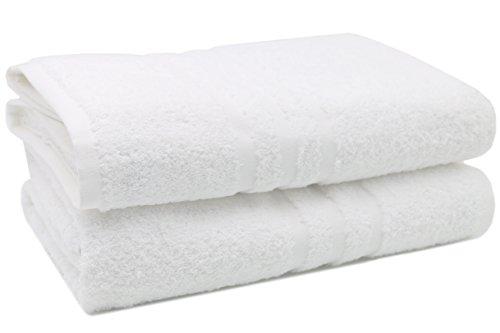 ZOLLNER® Juego de 2 toallas de baño / toallas de ducha / toallas de cuerpo con bordura, calidad premium, gramaje 550g/m², 100x150 cm, rizo blanco, 100% algodón, del especialista textil, serie 'Capri'