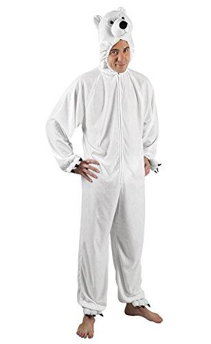 Karnevalsbud - Herren Motto-Party Karneval Kostüm Polarbär Set, Onesie, Komplett-Jumpsuit Eisbär, One Size, Weiß (Supergirl Kostüm Weiß)