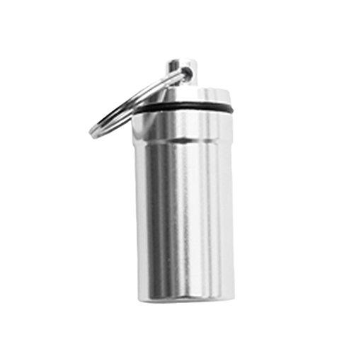 MagiDeal Mini Kapsel / Pillendose Outdoor wasserdicht & luftdicht zur Aufbewahrung von Kleinteilen Aufbewahrungsbox / Pillenbox als Schlüsselanhänger mit Schlüsselring Schraubverschluss, Aluminium - Silber (Aluminium-aufbewahrungsbox)