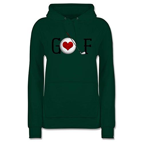 Golf - Golf Herz - M - Dunkelgrün - JH001F - Damen Hoodie (Golf Clubs Für Jugendliche)
