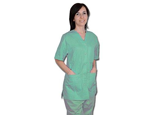 nic Uniform mit Druckknöpfen für Frauen, Größe XL, grün, für Krankenschwestern, Therapeuten, Beauty, Gesundheit Care, Nail, SPA Limo ()