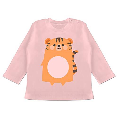 Monat 6 Tiger Kostüm 3 - Karneval und Fasching Baby - Kostüm Fasching Tiger - 3-6 Monate - Babyrosa - BZ11 - Baby T-Shirt Langarm