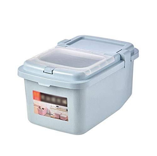 PFSYR Home Küche Storager Double Sealed Reis Eimer Küche Korntank große Kapazitäts-Reis Barrel Geeignet for Arten der Küche Storage (Color : Blue, Size : L)