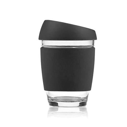 Idollcg Tasse Tee Tasse Glass Cup-Wasser-Schal Mit Silikon-Deckel Tasse für Kinder Keramiktasse (Color : A)