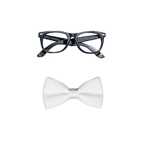 Blue Planet Online-Geek Nerd Brille und Fliege Kostüm Schule Boy Girl taglia unica weiß