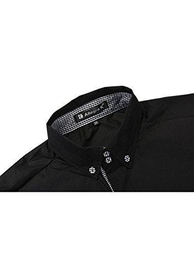 Allegra K Allegra K herren modisch Langarmhemd regular fit Businesshemd Freizeithemd Schwarz