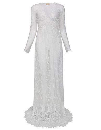 Femme Ete Sexy Enceintes Robe Longue Manches Robe Blanche pour Maternité  Taille XL FR1082 2 485b593905c