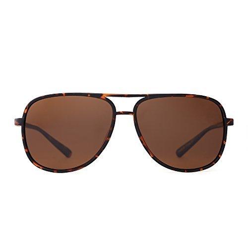 JM Retro Polarisiert Flieger Sonnenbrille Spiegel Leicht Gewichts Brillen Zum Damen Herren(Schildkröte/Polarisiertes Braun)