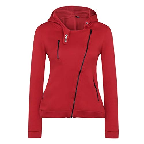 (Xmiral Damen Hooded Sweatshirt Herbst und Winter Casual Diagonaler Reißverschluss Jacket Pullover(XL,Rot))