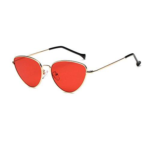 gafas de sol mujer polarizadas, Sannysis Gafas de sol de de lente espejo con marco de metal Clásico Gafas de ojo de gato retro vintage de verano Aviador de moda unisex Gafas de sol de viaje (Rojo)