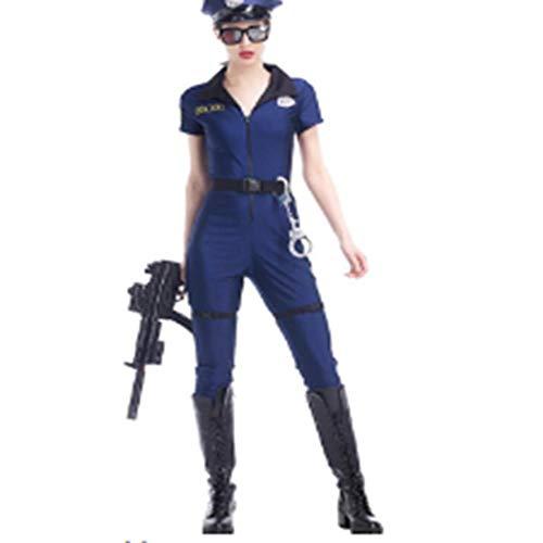 WHFDRHWSJFZ SportingGoods Prom Halloween Skelett KostümSexy Blue Polizei Kostüme Erwachsene Frauen Halloween Karneval Cosplay Cop Polizei Kombinationen Uniform, ()