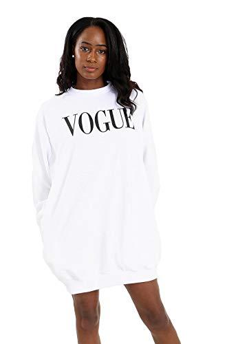 Vogue des Femmes Baggy Oversize Poches latérales Imprimer Sweat Fit Robe Ample (Blanc, S/M)