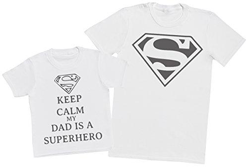 Keep Calm My Dads A Super Hero II - Passende Vater Kind Geschenk-Set - Vater T-Shirt und Kinder T-Shirt - Weiß - L & 3-4 Jahre -