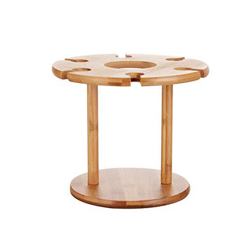 Mjd cremagliera del vino decorazione portabottiglie in bambù, porta bicchieri da vino con doppio calice porta bottiglie